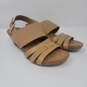 Sofft Snake Embossed Wedge Leather Sandals Sz 6.5
